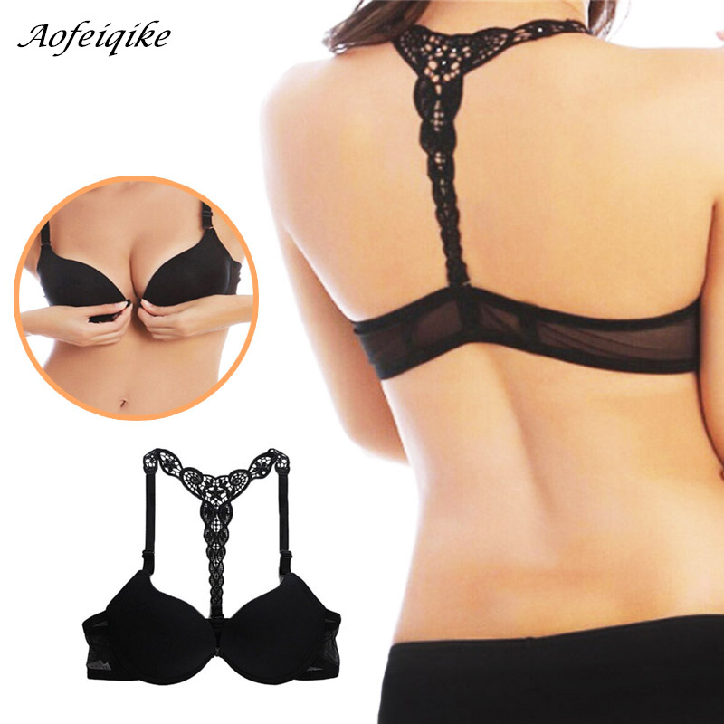 Lovely Women Multi Color Smooth Bras Front Closure Lace Racerback Push Up Bra S72 Bras Women's Intimates