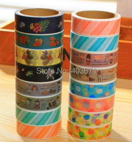 New natural travel style paper masking tape 2 pcs pack decoration stati - Decoration masking tape ...