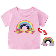 2019 summer tee girl shirts change color sequin rainbow short sleeve girls tops t shirt for girls 3-12 T kid clothes tshirt