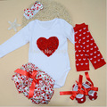 Body Baby Patchwork Top Fashion Jumpsuit 4pcs/lot 2016 Romper Girl Suits 5piece Set Infant Clothing Sets;1st Birthday Outfits
