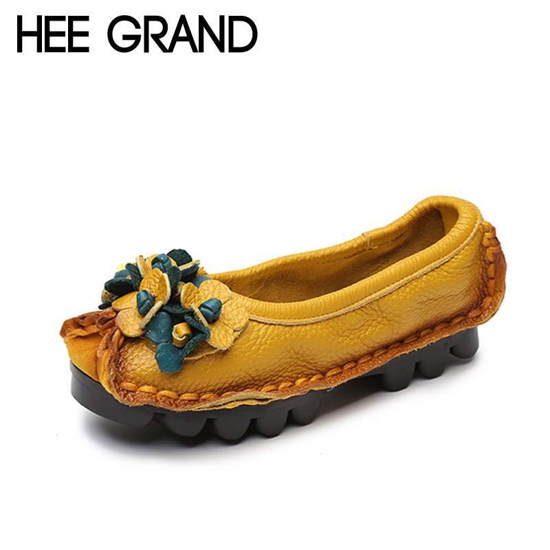 HEE GRAND Genuine Leather Loafers Casual Platform Shoes Woman Slip On Flats Moccasin Comfortable Creepers Women Shoes XWD4523 hee grand 2017 gladiator sandals summer platform shoes woman slip on creepers rhinestones casual wedges women shoes xwz3547