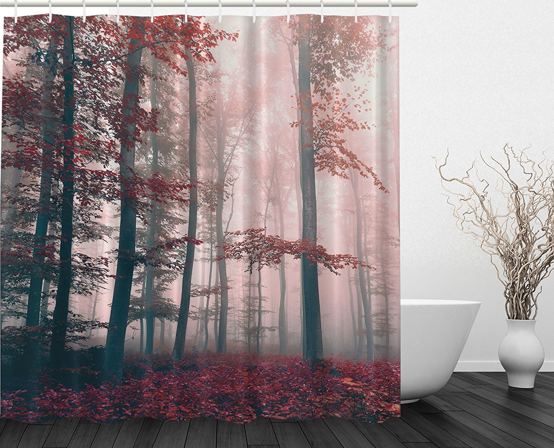 Memoria casa woodsy tenda della doccia rosso mystic foresta di