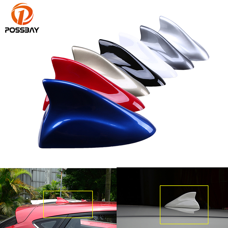 POSSBAY 7 Color Car Shark Fin Antenna Radio Signal Aerial Auto SUV Truck Van Gray/Blue/Gold/Silver/Black/Red/White Car-styling ...