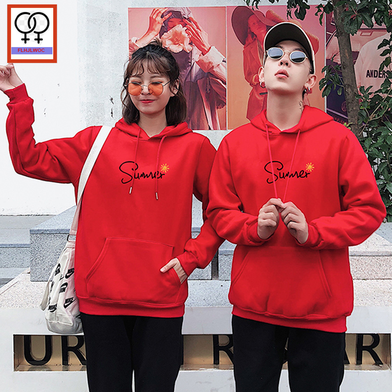 Matching Couple Hoodies His and Her Love Sweatshirts Smile Letter Boyfriend Girlfriend White Black Printed Couple Top Hoodies
