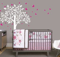 Beautiful Nursery Tree Art Wall Stickers With Flying Butterflies Sweet Vinyl Wall Decal For Home Girls Bedroom Cute Decor Wm 577