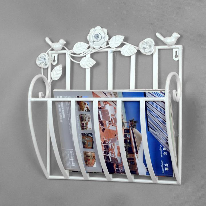 Metal Wall Mounted Newspapers Rack Books Magazine Holder 30X13X30cm White Black