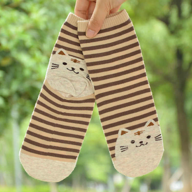Лидер продаж, 1 пара, женские полосатые носки с 3D рисунком животных, милые хлопковые носки в стиле кошки, повседневные хлопковые носки до щиколотки