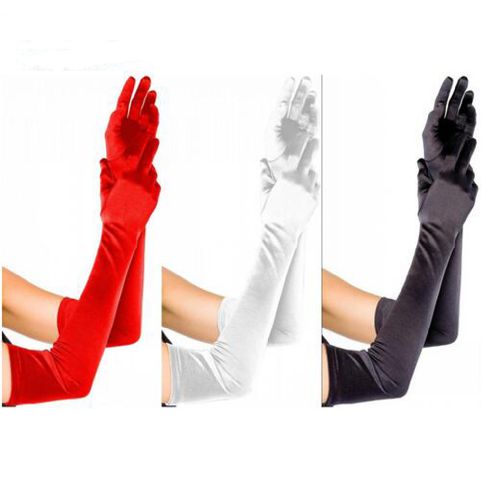 Elbow Length Long Woman Wedding Gloves Finger Red/Black/White Bridal Wedding Gloves 2018 New Arrival Dance Gloves Satin In Stock