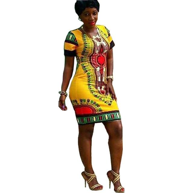Casual Fashion sexy women yellow summer dress Aztec Tribal Rocco short  sleeves Novelty Print bodycon pencil dress 7a7e3a827e