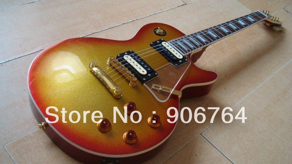new cherry sunburst LP standard guitar 2 zebra pickups fmahogany golden parts gold top super shop custom build one piece of neck