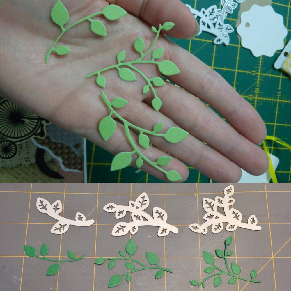 Green Leaves Metal Cutting Dies Stencils For DIY Scrapbooking Photo Album Die Cuts Decorative Embossing Paper Cards Crafts Tools in Cutting Dies from Home Garden