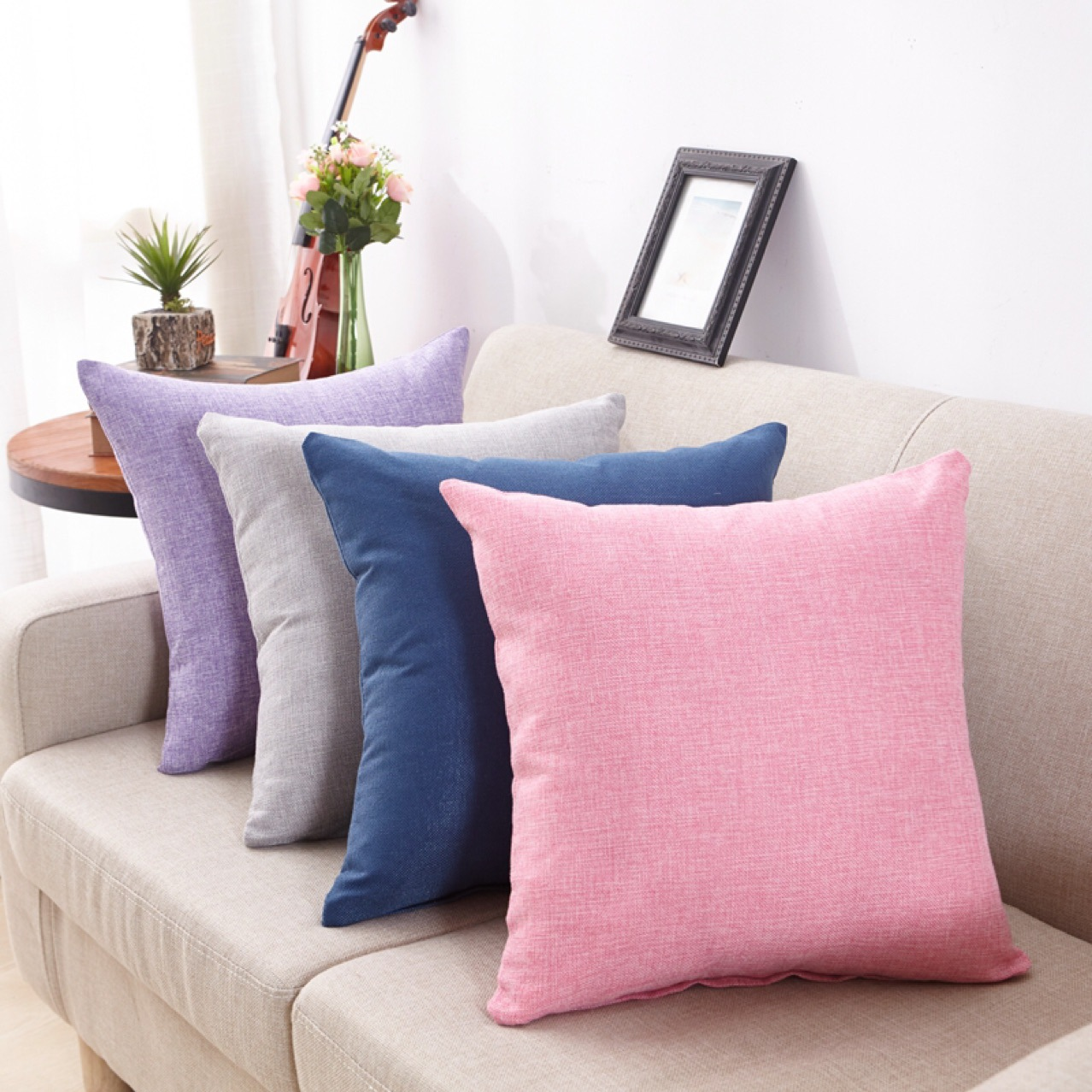 HTB17IFvgTnI8KJjy0Ffq6AdoVXad 45x45cm New Soft Multicolor Choice Tailored Edge Poly Cotton European Cushion Home Decor