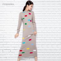 FASHION Winter Autumn Blend Long Cashmere Women Sweater Dress Printed Patchwork Mid Calf Knitted Vintage Dresses Sweater Women