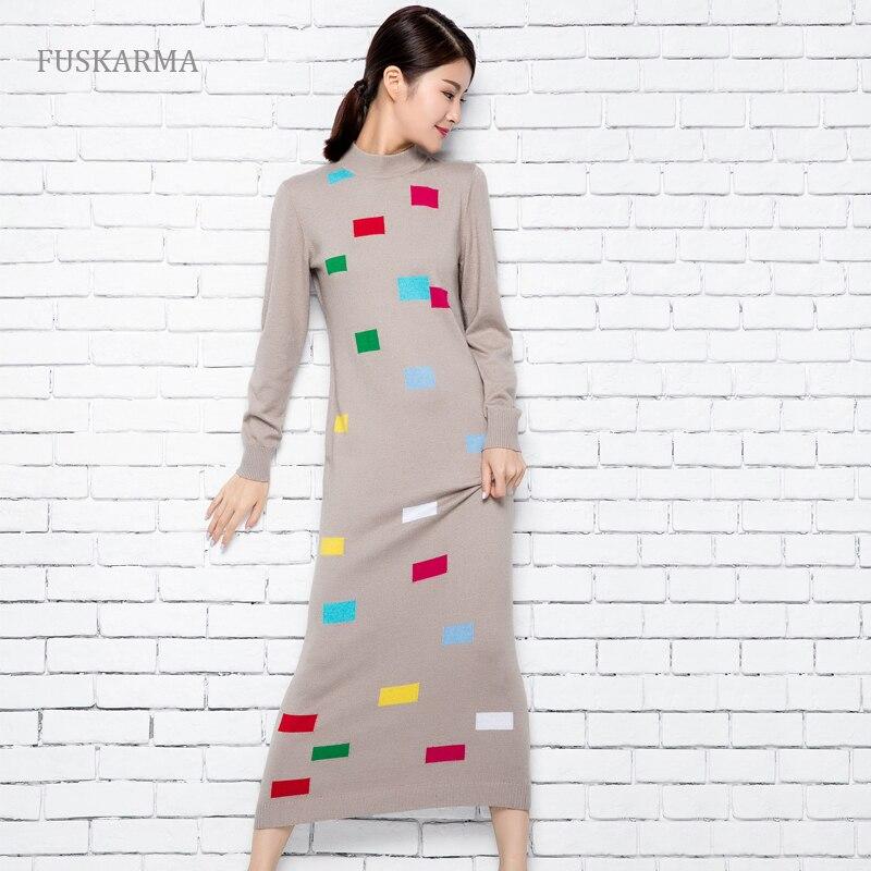 Mode hiver automne mélange Long cachemire femmes pull robe imprimé Patchwork mi-mollet tricoté Vintage robes pull femmes