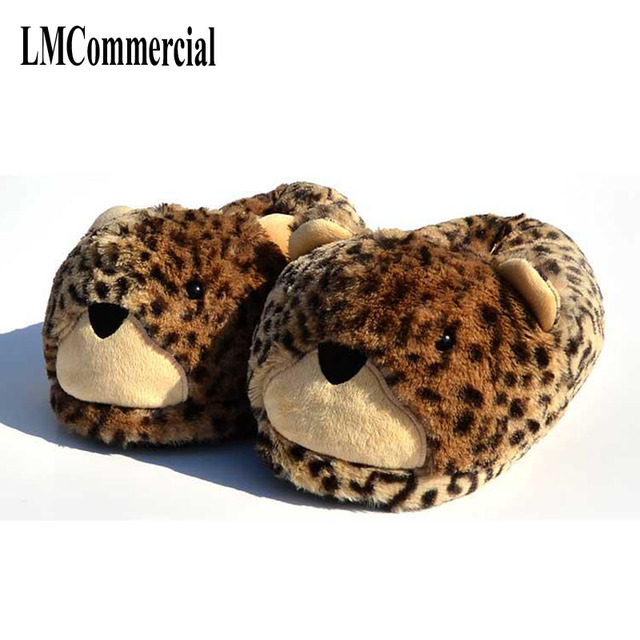 4806f5e73 The 2017 winter warm women indoor slippers shoes for the cheetah on floor  slipper cartoon toy lovers home shoes