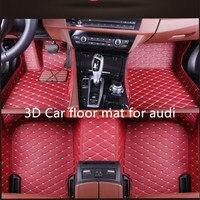 3D Car floor mat for audi A1 A2 A3 A4 A5 A6 A7 A8 Q3 Q5 Q7 car styling custom mat
