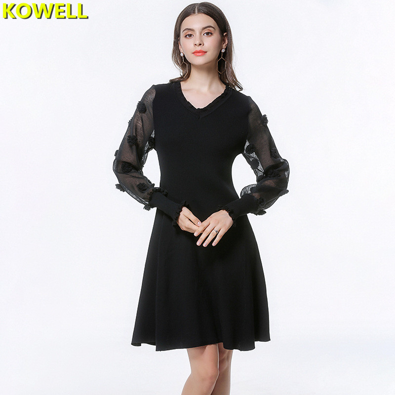 2018 Spring Women Sweater Dress Patchwork V-Neck Lantern Full Sleeve Lady Knitted Lace Floral Bodycon A-Line Knee-Length Dresses
