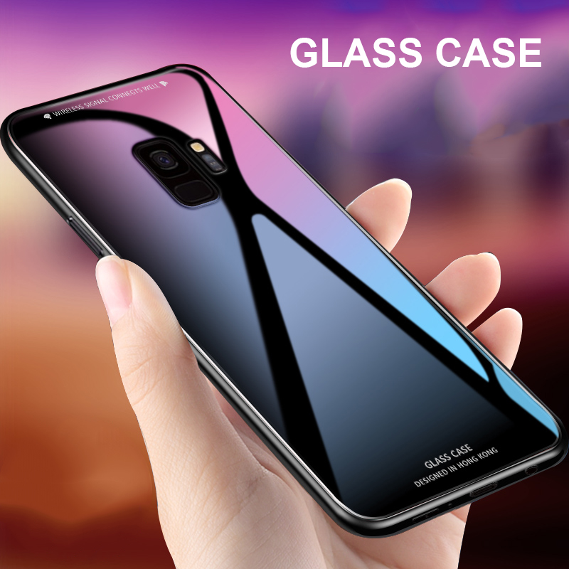 For Samsung Galaxy S10 Plus Case Luxury Glossy Tempered Glass Silicone Frame Hard Cover For Samsung Galaxy Note 9 S9 Plus S10e