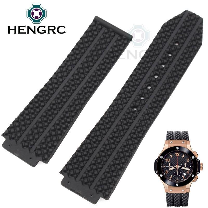 HENGRC 26 / 25mm X 19mm Watch Lug Silicone Watch Band Strap Men Black Waterproof Rubber Watchbands No Buckle Watch Accessories