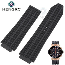 HENGRC 26 / 25mm X 19mm Watch Lug Silicone Watch Band Strap Men Black Waterproof Rubber Watchbands No Buckle Watch Accessories