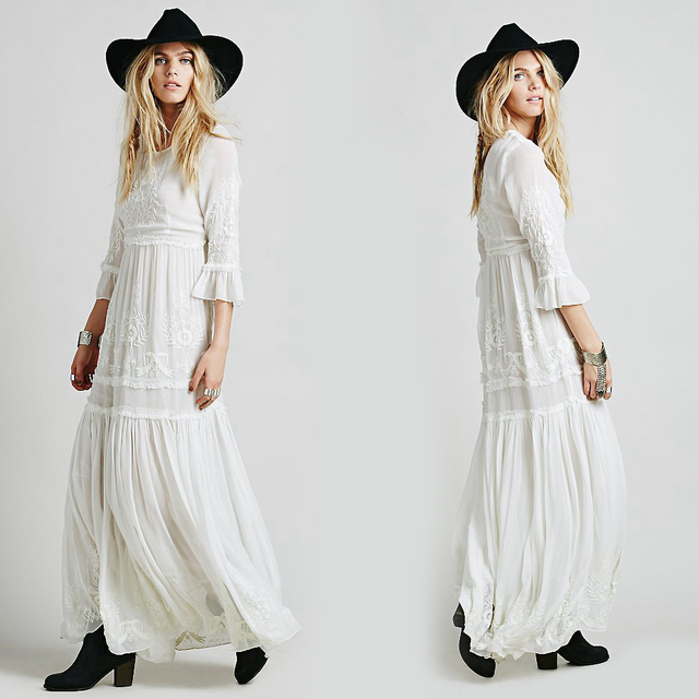 Women boho dress Bohemian Long maxi Dress Embroidery Black white dress With Long Sleeve Female chic vestidos brand clothing