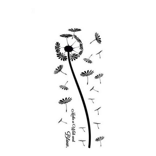 Plant Wall Art DIY Flower Wall Stickers Dandelion Make A Wish And Blow Home  Decor Living