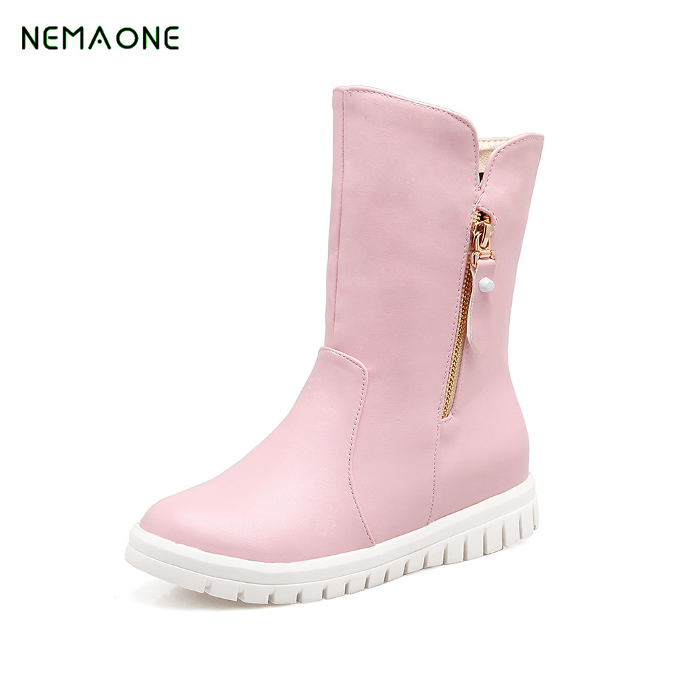 NEMAONE new Women Ankle Boots Fashion Designer Woman Shoes Winter Vintage Flat Heel Motorycle Boots Female Fur Snow Botas designer luxury brand fur women ankle boots soft gladiator flat dress shoes woman new casual short snow booties travel shoes