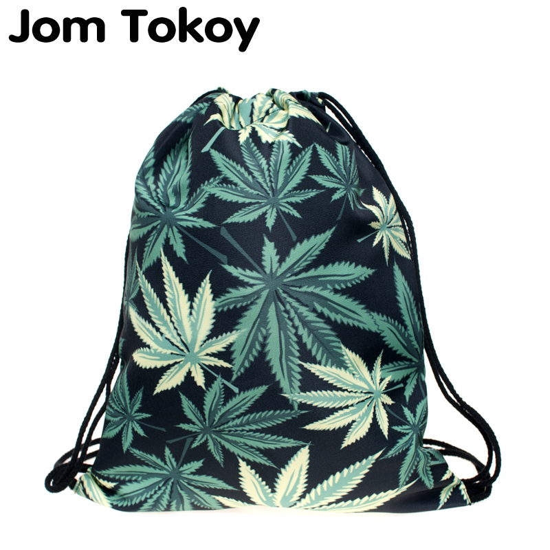 New Fashion Women Black Weed Drawstring Backpack 3D Printing Travel Softback Women Mochila Drawstring Bags