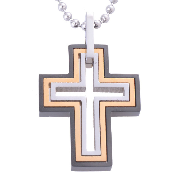 f59fe97fe955 New Design Distinctive Triple-Layer Crosses PendantsNecklaces Stainless  Steel Crosses Jewelry Gold Silver Black Three-Tone IR103