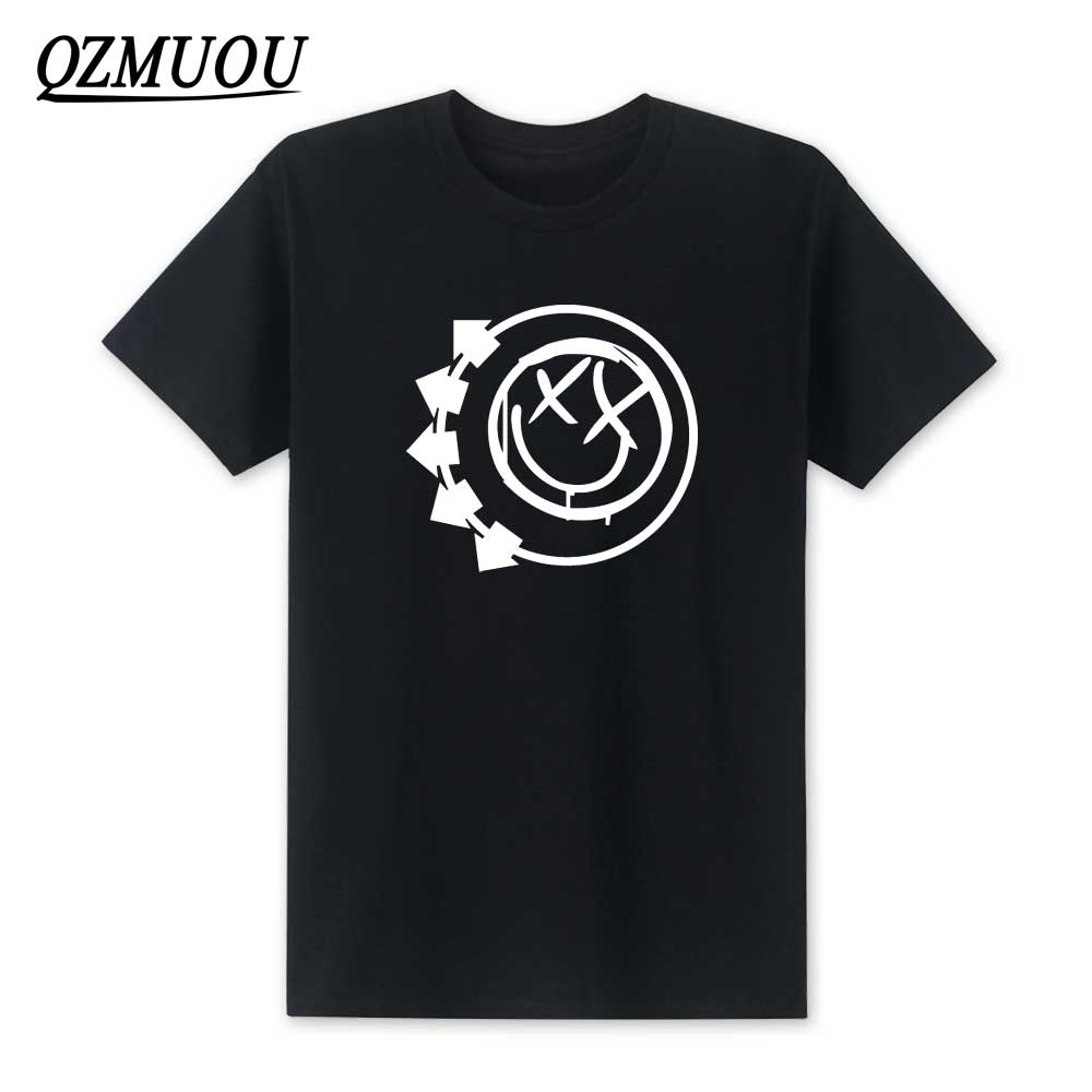 New 2019 Fashion <font><b>Blink</b></font> <font><b>182</b></font> Smiley Face Punk Rock Roll T <font><b>Shirts</b></font> Pop Music T-<font><b>shirt</b></font> Man O-Neck Cotton Casual Top Tees Size XS-XXL image