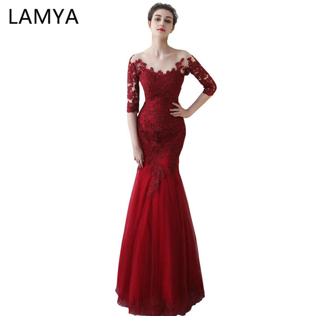 Lamya Wine Red Mermaid Evening Dresses 2018 Backless Vintage Plus