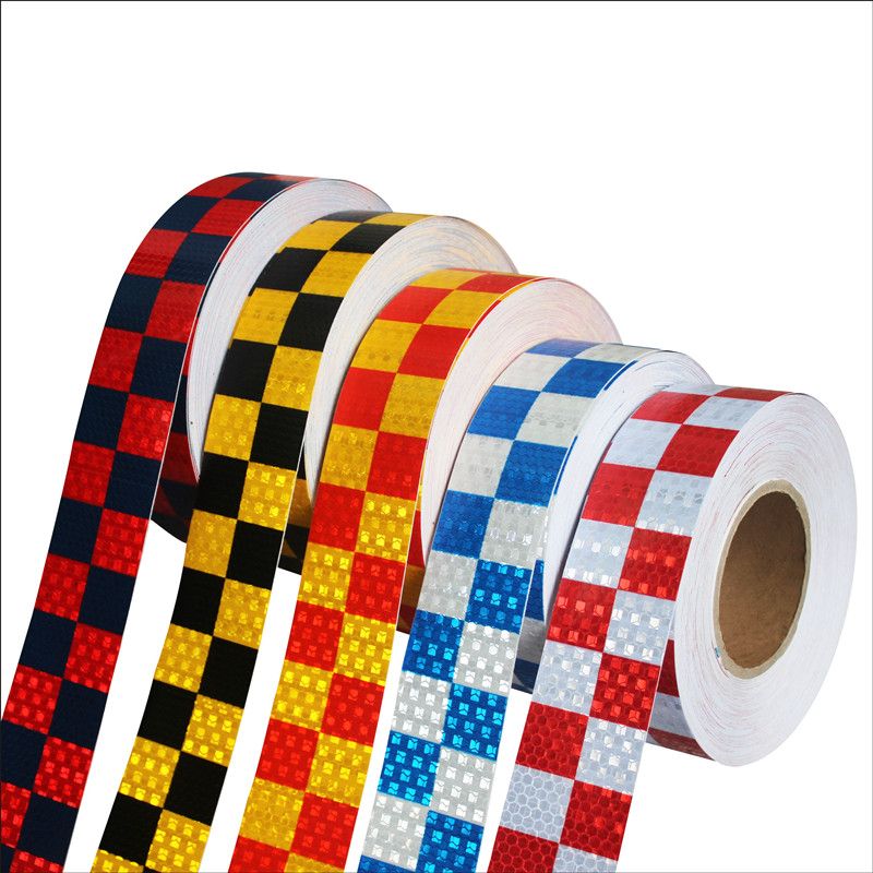 Free shipping 2x120' Chequer Reflective Safety Warning Conspicuity Tape Marking Sticker For Car Truck RV Transport Construction