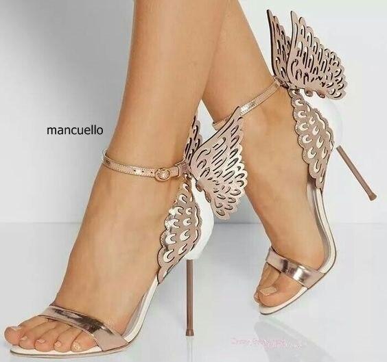 Novo design brilhante paillette borboleta stiletto saltos vestido sandálias na moda feminina linha fivela estilo vestido sapatos sandálias únicas