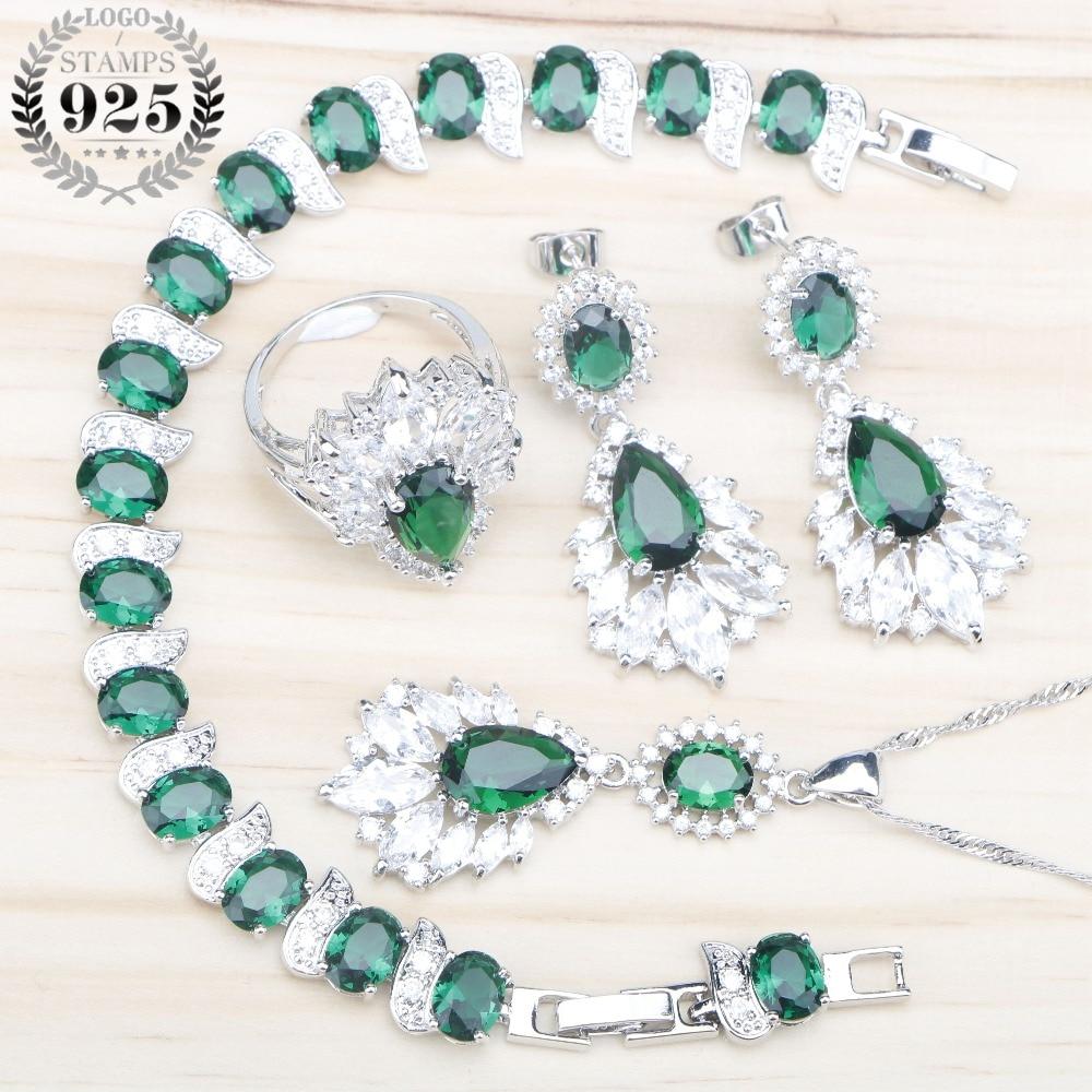 Green Zircon Women Silver 925 Costume Jewelry Sets Wedding Pendant Necklace Rings Bracelets Stud Earrings Set Jewelery Gift Box