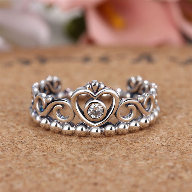 Romad Wedding Rings For Women Plated Silver Engagement Ring Hollow Crown Shaped Queen Temperament Jewelry
