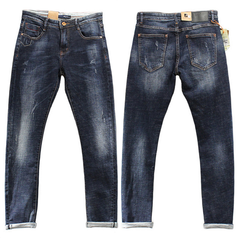 2017 New Arrival Nigrity Zipper Fly Slim Mid Pencil Pants Midweight Full Length Solid Pockets Jeans