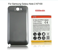 Phone Replacement Extended 6500mAh Battery Black With Back Cover For Samsung Galaxy Note 2 N7100 Gray