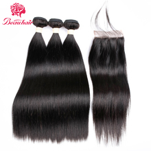 BeauHair Peruvian Hair 4Bundles with 4*4 Lace Closure Deal Straight Human Hair Weaving Bundle Natural Black Human Hair Extension