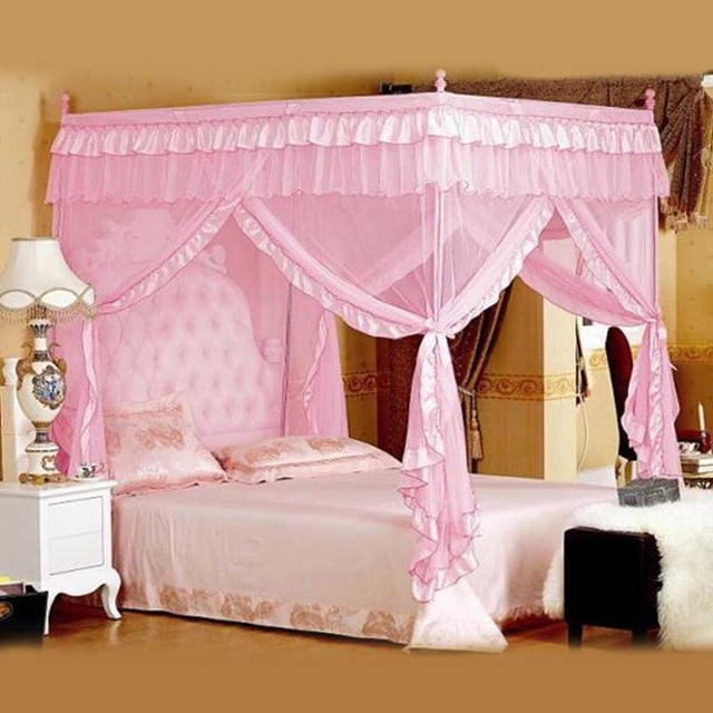 Cute Princess Double Bed Canopies Adults Four Corner Lace