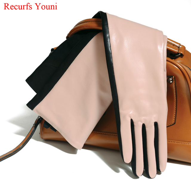 Winter Warm Women Genuine Leather Contrast Color 40/50 cm Long Gloves Female Pink/Black Opera Evening Luva Mujer Street Eldiven