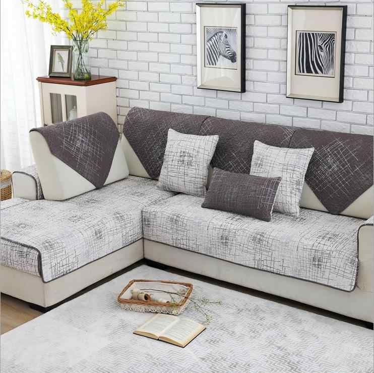 1 Piece Sofa Cover Modern Brief Brown Beige Printing Soft Slip Resistant Slipcover
