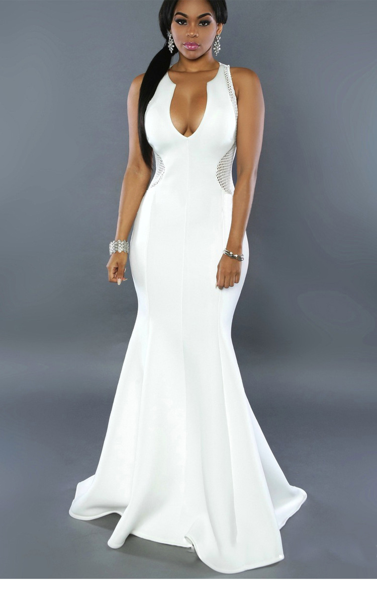 White Black Long Dress Mesh Bodycon Evening Party 2017 -6081