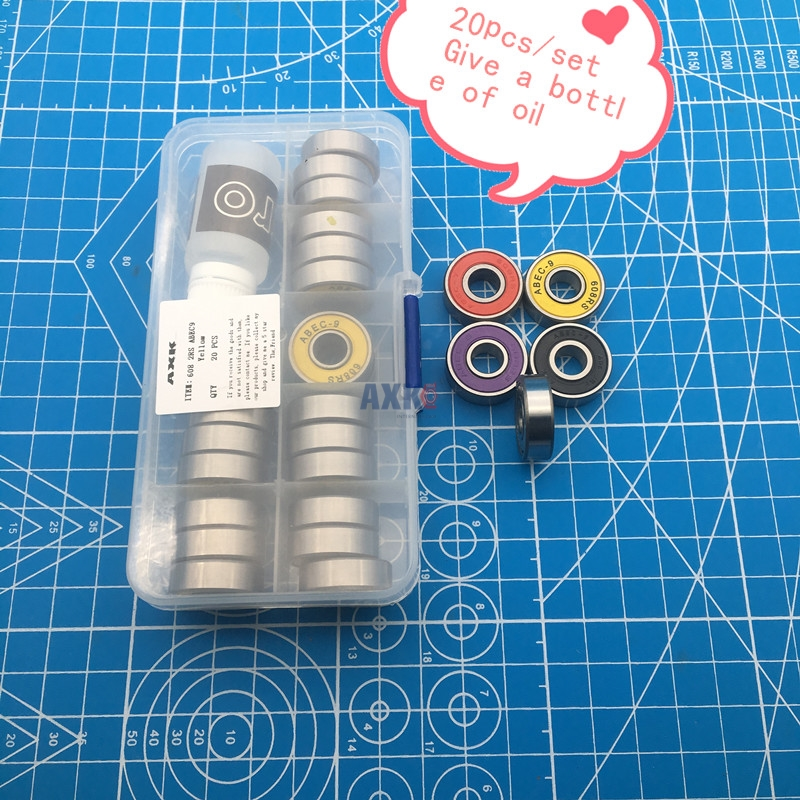 Free Shipping High Quality Bearing Set 608ZZ Multiple Colour 608-2RS 8*22*7 Mm For Skateboard Scooter Roller Ball Bearing 608 RS