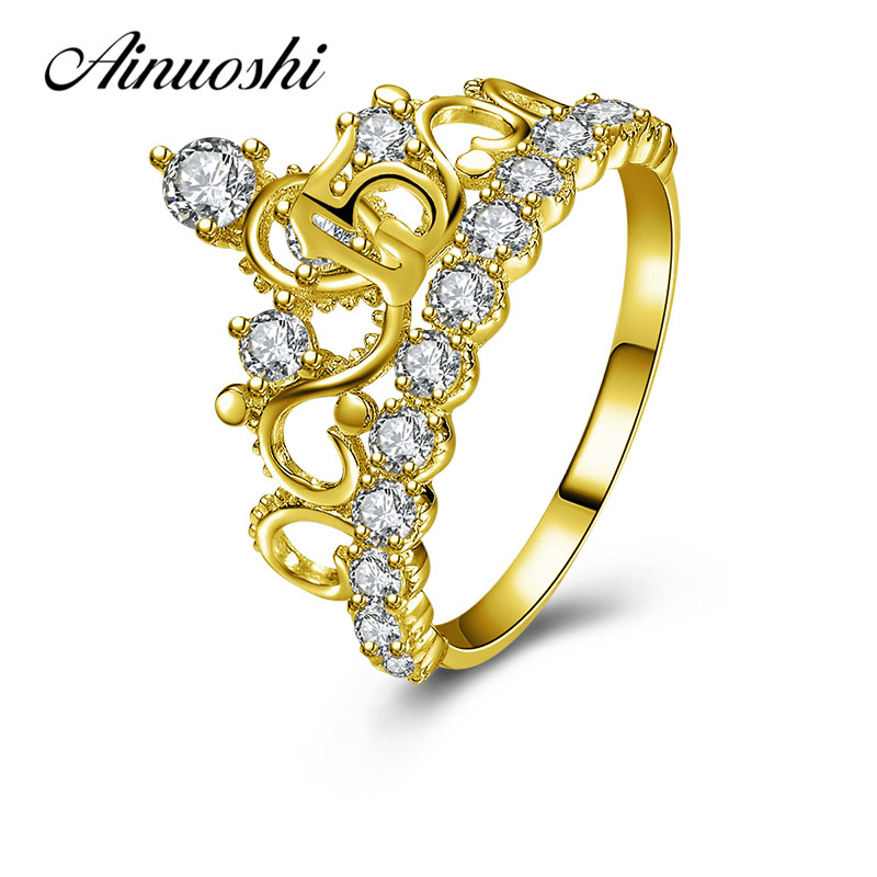 AINUOSHI Elegant Princess Crown Ring 10K Solid Yellow Gold Bridal Ring Crown Ring 15th Anniversary Jewelry Women Wedding Ring graceful solid color rhinestone crown shape ring for women