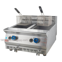 24L Frituur Teller Top Dubbele Tank Chips Making Gas Friteuses|gas fryer|frying machinefryer fryer -