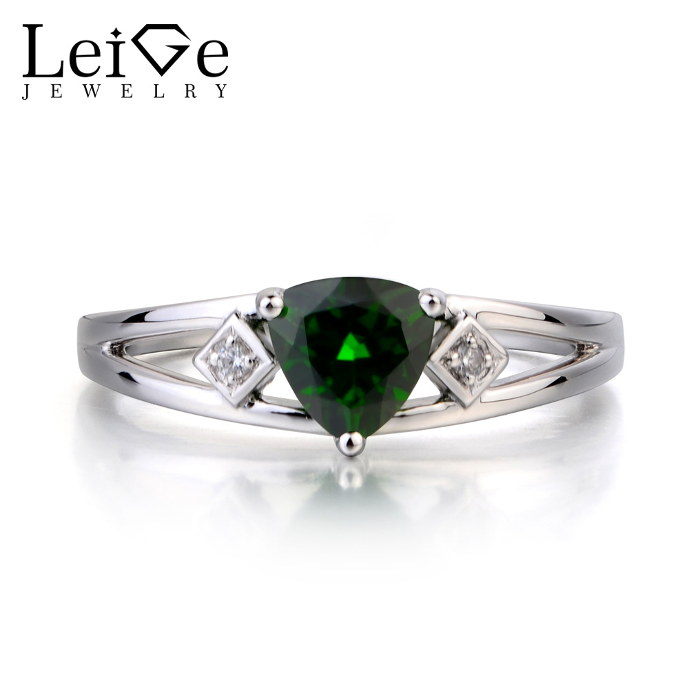 Leige Jewelry Real Natural Chrome Diopside Ring Anniversary Ring Green Gems Trillion Cut Gemstone Solid 925 Sterling Silver RingLeige Jewelry Real Natural Chrome Diopside Ring Anniversary Ring Green Gems Trillion Cut Gemstone Solid 925 Sterling Silver Ring