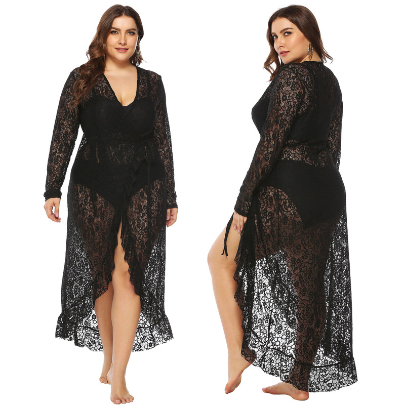 Plus Size Beach Cover Up Tunics Summer Bath Exit Women Bathrobe Swimsuit Coverup Dress Sexy Perspective Irregular Ruffled Lace