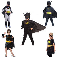 Free Shipping Batman Girls Boys With Cloak Mask Belt Halloween Birthday School Party Cosplay Batman Costume