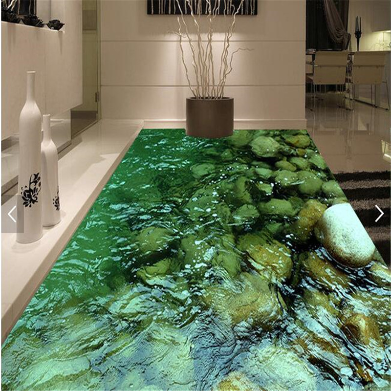 beibehang Modern Floor painting HD Natural scenery stone water Waterproof Bathroom kitchen PVC Wall paper Self wall sticker