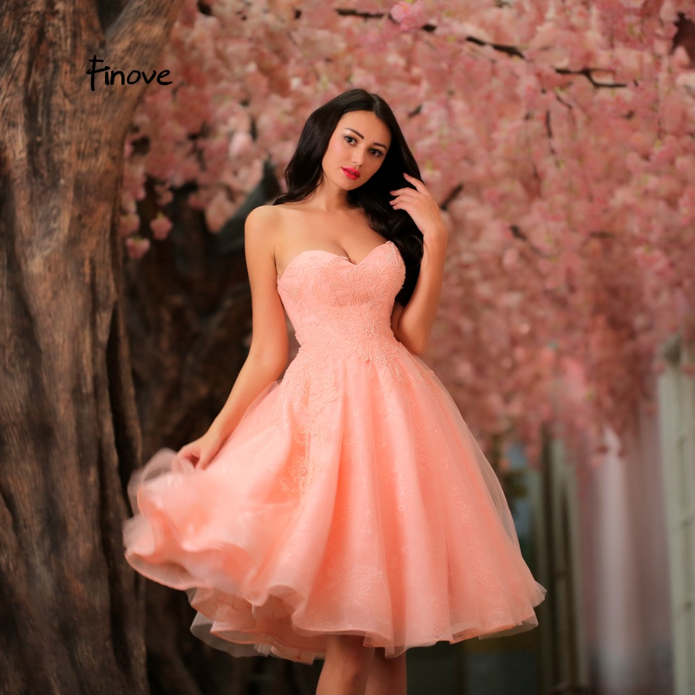 Finove Pink Color A Line Cocktail Dress 2018 New Design Strapless ...